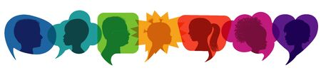Speech bubble.Multicultural kindergarten.Silhouette group of modern children in rainbow colored profile.Communication between multi-ethnic children.Children talking.Globalization