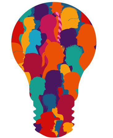 Group of diverse people silhouette in profile forming a light bulb.Community.Multiethnic multicultural society and population.Friendship and organization.Talking people.Human figures