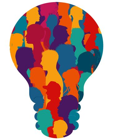 Multiethnic group of many people forming a light bulb.Sharing ideas thoughts and information.Communication and connection.Social network.Socialize.Population that speaks.Diverse culture