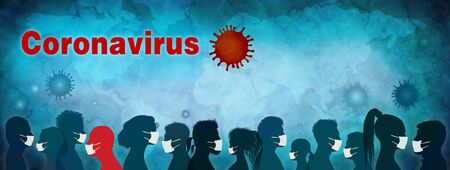 Banner. Coronavirus epidemic and pandemic. Group people diversity wearing medical masks. Crowd of people planning themselves from viral or bacteriological infection. Contagion. Prevention