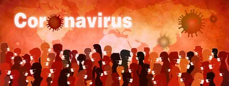 Coronavirus epidemic and pandemic banner. Group people diversity wearing medical masks. Crowd of people planning themselves from viral or bacteriological infection. Contagion. Prevention