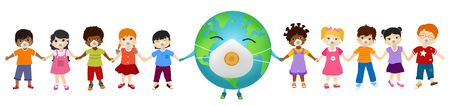 Isolated group of multiethnic children and different cultures with medical mask holding the earth globe by the hand. Solidarity and cooperation between people of different nationalities