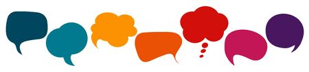 Communication concept. Colored speech bubble. Social network. Colored cloud. To speak - discussion. Symbol to talk and communicate. Friendship and dialogue different cultures. News. Along