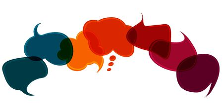 Colored speech bubble. Sharing idea. To speak - discussion. Communication. Social network. Cloud. Symbol to talk and communicate. Friendship and dialogue different cultures. News. Diversity
