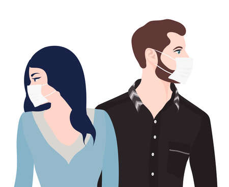 Caucasian man woman couple with medical mask. Separation or divorce between couples with problems of cohabitation due to the lockdown due to the Covid-19 Coronavirus epidemic Редакционное