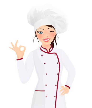 Portrait beautiful smiling young brunette woman cook wearing hat and chef uniform making ok sign gesture looking at the camera. Influencer. Cooking class. Video tutorial Иллюстрация