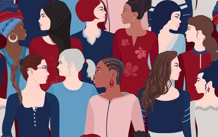 Group of multiethnic multicultural women who talk and share ideas and information. Communication different female portrait. Female's empowerment movement. Crowd women seamless pattern