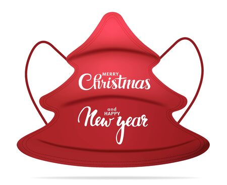 Isolated red medical mask in the shape of a fir tree with the inscription Merry Christmas and Happy New Year. Christmas greetings trend. Outbreak Coronavirus. Health care. 3d Illustration