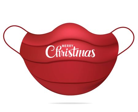 Isolated red realistic medical face mask with text Merry Christmas. Christmas greetings trend. Outbreak Coronavirus. Healthcare concept. 3d illustration. White background