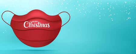 Web Banner Christmas greetings with red medical mask with Merry Christmas writing. Background with snowflakes. Coronavirus. Best wishes -from or for- healthcare workers or hospital staff