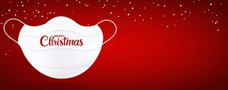 Web Banner Christmas greetings with white medical mask with Merry Christmas writing. Red background. Copy space. Coronavirus Best wishes -from or for- healthcare workers or hospital staff Иллюстрация