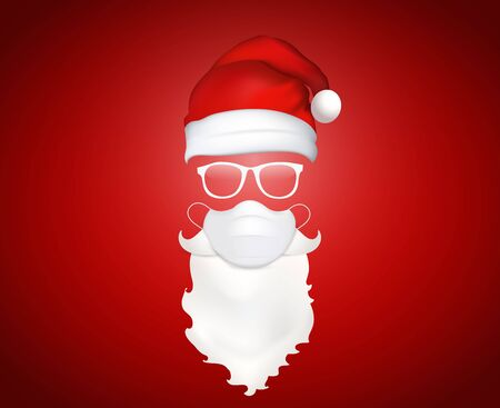 3d illustration Santa Claus face with medical mask - hat - glasses - beard and mustache. Christmas Santa design elements. Holiday icons. New year
