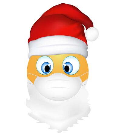 Emoji emoticon cute Santa Claus wearing medical mask. 3d illustration. Funny emoticon. Coronavirus outbreak protection concept. Merry Christmas. Three-dimensional. isolated Иллюстрация