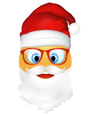 Emoji emoticon cute Santa Claus with mustache beard and glasses. 3d illustration. Funny emoticon. Merry Christmas and happy new year greetings.Three-dimensional. Holiday icons. isolated Иллюстрация