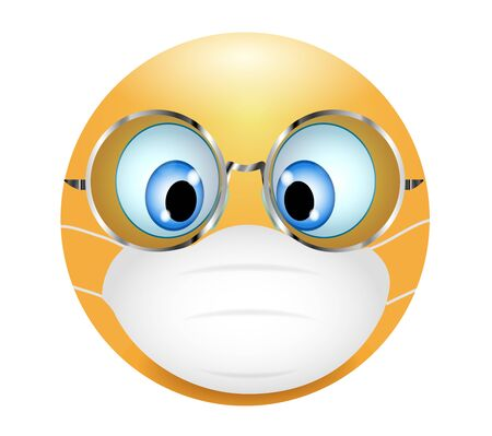 Emoji emoticon wearing medical mask and glasses. 3d illustration. Funny emoticon. Coronavirus outbreak protection concept - germs - air pollution. Three-dimensional. isolated Vettoriali