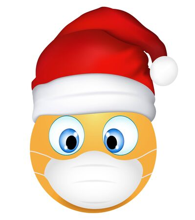 Emoji emoticon wearing medical mask and Santa Claus hat. Funny emoticon. Coronavirus outbreak protection concept. Merry Christmas. 3d illustration. Three-dimensional. isolated