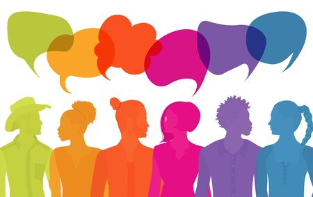 Group of diverse multiethnic people different cultures talking sharing ideas. Communication people. Crowd talking. Silhouette. Social network. Community. Speak. Communicate. Speech bubble