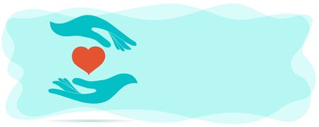 Volunteer donation or solidarity charity concept. Voluntary assistance and support service. Symbol hand giving and hand receiving. Organization of volunteers. Contribution