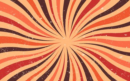 Abstract retro dirty grunge vintage starburst. Vintage sunburst wallpaper. Old paper. Swirl light rays. Texture stripes red brown orange. Cardboard Pattern background