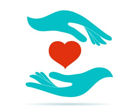 Volunteer donation or solidarity charity concept. Symbol hand giving and hand receiving. Voluntary assistance and support service. Organization of volunteers. Contribution. isolated