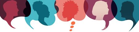 Speech bubble.Silhouette heads people in profile. Diversity people.Talking dialogue and inform.Communicate between a group of multiethnic and multicultural people who talk and share ideas