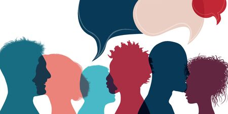 Silhouette heads people in profile.Diversity people.Speech bubble.Talking dialogue and inform.Communicate group of multiethnic people who talk and share ideas.Community.Speak.Social Иллюстрация