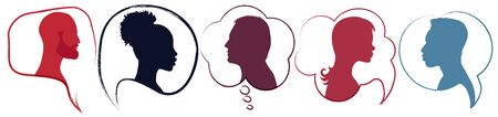 Speech bubble.Diversity people.Silhouette heads people in profile.Talking dialogue and inform.Communicate between a group of multiethnic and multicultural people who talk and share ideas Иллюстрация