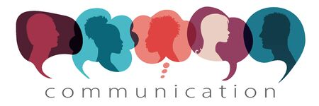 Silhouette heads people in profile inside speech bubble talking and communicating. Community concept. Communicate and share ideas and information on social networks. Communication text Фото со стока - 150179612