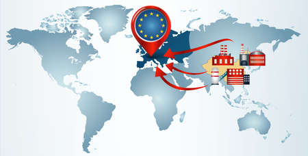 Reshoring. Local production.Factories companies from China return to the EUROPE. Protectionism.Local production self-sufficiency. Automated supply chain.Avoid production chain disruption Foto de archivo - 151370609