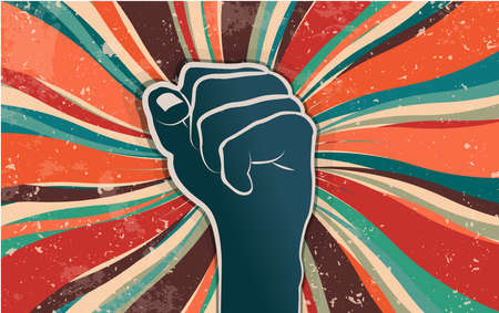 Fist raised in protest or popular uprising. Revolution and social struggle concept. Cooperation and unity. Community that rebels manifested for human rights and freedom. Retro banner Foto de archivo - 151487150