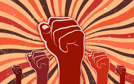 Fists raised in protest of the people. Revolution and social struggle concept. Cooperation and unity. Community that rebels manifested for human rights and freedom. Retro banner. Vintage