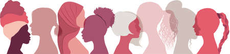 Silhouette group of multiethnic women who talk and share ideas and information. Social network female community. Communication women or girls of different cultures. Protest. feminism