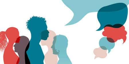 Silhouette heads face international people in profile talking and communicating. Speech bubble. Communication. Communicate share ideas information on social networks.Multiethnic community