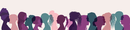 Silhouette group multiethnic women who talk and share ideas and information. Women social network community. Communication and friendship women or girls different cultures. Speech bubble