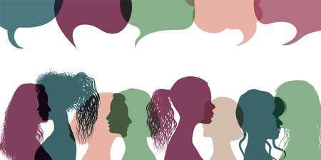 Silhouette group multiethnic women who talk and share ideas and information. Communication and friendship women or girls different cultures. Women social network community. Speech bubble 向量圖像