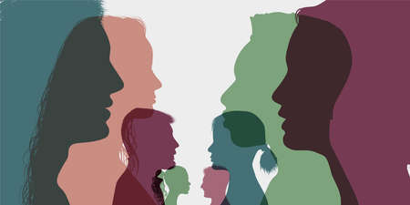 Diversity multi-ethnic and multiracial people. Silhouette profile group of men and women of diverse cultures. Concept of racial equality and anti-racism. Multicultural society. Friendship Vettoriali
