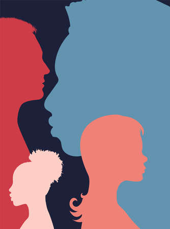 Diversity multi-ethnic and multiracial people poster. Silhouette profile group of men and women of diverse cultures. Concept of racial equality and anti-racism. Multicultural society