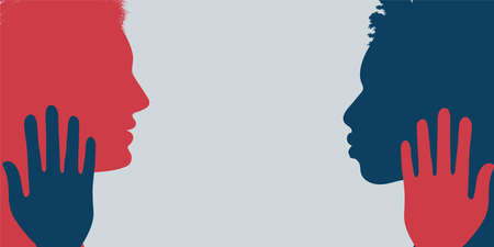 Banner of two multiethnic people silhouette in profile. Concept of racial equality and anti-racism. Multicultural society. Friendship. Stop racism and racial discrimination. Friendship