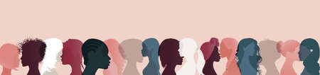 Large different nationalities group of women and girls. Face silhouette profile. Talk and share information Community and social network female diversity. Communication and friendship