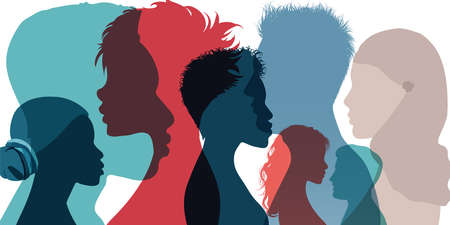 Racial equality and anti-racism. Silhouette profile group of men women and girl of diverse culture. Diversity multi-ethnic and multiracial people. Multicultural society. Friendship Vektorgrafik