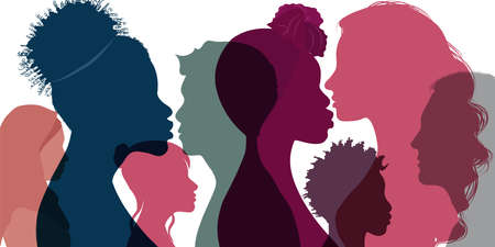 Silhouette profile group of men women and girl of diverse culture. Multicultural society. Diversity multi-ethnic and multiracial people. Racial equality and anti-racism. Friendship 向量圖像