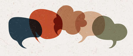 Colored speech bubble. Communication concept. Colored cloud. Speak - discussion - chat. Symbol talking and communicate. Friendship and dialogue different cultures. Social network