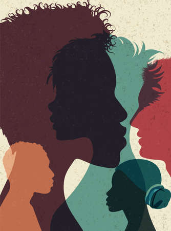 Diversity multi-ethnic and multiracial people poster. Silhouette profile group of men and women of diverse culture.Concept of racial equality and anti-racism.Multicultural society.