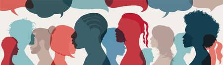 Dialogue group of diverse multiethnic multicultural people. Talking and share ideas. Crowd talking. Communication concept. Silhouette heads diversity people in profile. Speech bubble