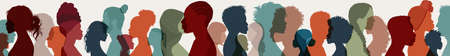 Group side silhouette men and women different culture and different countries. Diversity of many multi-ethnic people. Coexistence and multicultural community integration. Crowd of people