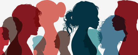 Group of multi-ethnic business co-workers and colleagues. Silhouette of diversity people side. Community of friends. Cooperation and collaboration. Teamwork partnership organization. Color Illustration
