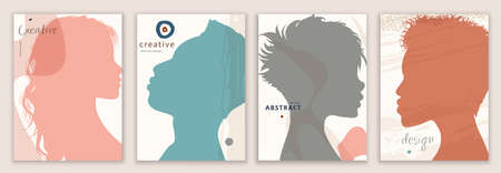 Vector set abstract creative covers in trendy design editable templates for social media stories. Silhouette man and woman. Design of backgrounds and banners for social network promotion Illustration