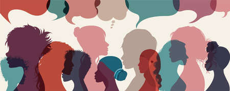 Silhouette group multiethnic diversity women who talk and share ideas and information. Communication and friendship women or girls different cultures. Social network community. Speech bubble