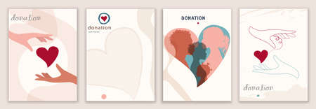 Vector set abstract backgrounds banner covers design editable templates. Concept of donation and nonprofits association. Hand that receives and hand that gives a heart. Silhouette people