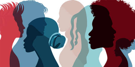 Silhouette profile group of men and women of diverse cultures. Diversity multi-ethnic and multicultural people. Concept of racial equality and anti-racism. Different cultures. Social
